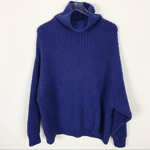 Free People Blue Oversized Cowl Neck Knit Sweater